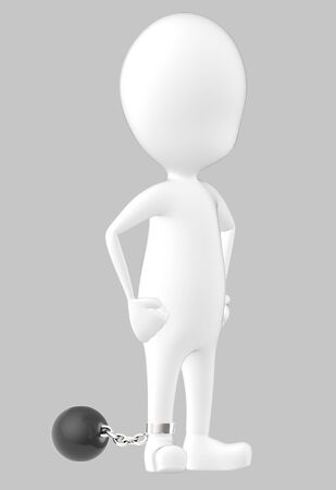 3d white character , leg tied to a weight -grey background- 3d rendering