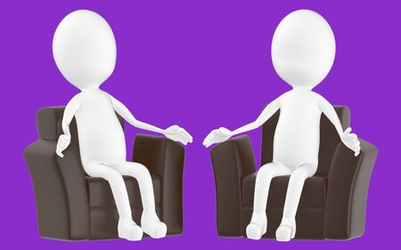 3d white character , sitting in a sofa -purple background- 3d rendering Zdjęcie Seryjne