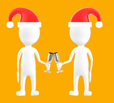 3d white character , two character wearing xmas cap and clinking glasses -orange background- 3d rendering Banco de Imagens