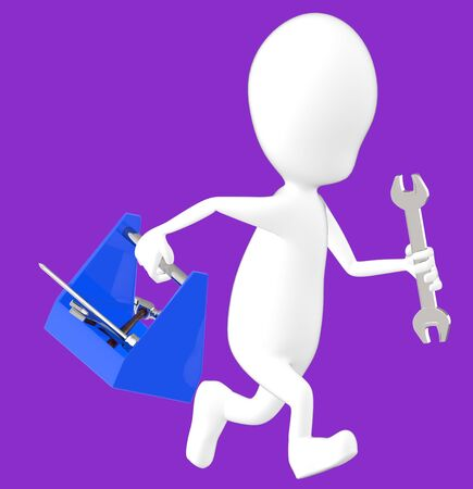 3d white character holding a toolkit and a wrench in his hands and running -purple background- 3d rendering Imagens - 134050170