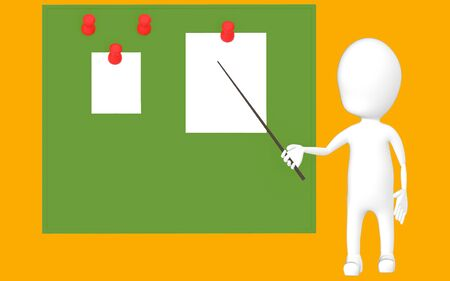 3d white character holding a stick and pointing it towards a green board with pinned papers -orange background- 3d rendering Stock Photo