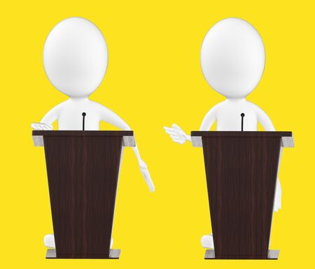 3d white character , character in a podium -yellow background- 3d rendering