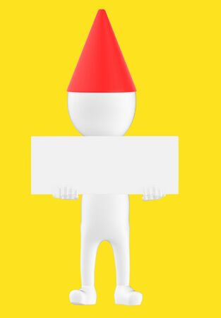 3d white character wearing a cone cap and holding a white empty board -yellow background- 3d rendering Banco de Imagens