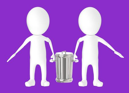 3d white character - two character carrying recycle bin -purple background- 3d rendering