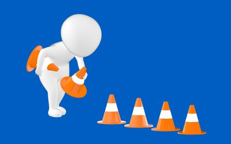 3d character , man putting in traffic cones- blue  background - 3d rendering