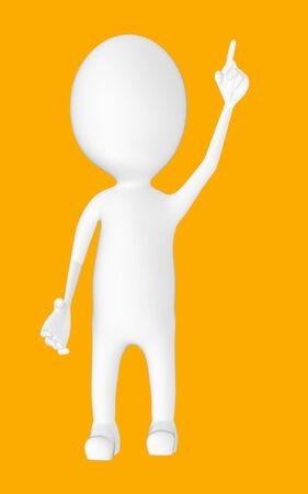 3d white character , pointing his hands upward -orange background- 3d rendering 版權商用圖片