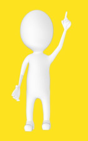 3d white character , pointing his hands upward -yellow background- 3d rendering