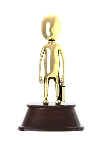 3d award , golden character holding a briefcase placed over a wooden- 3d rendering