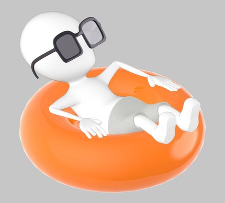 3d yellow charaecter on float , relaxing wearing sunglass -grey background- 3d rendering Imagens