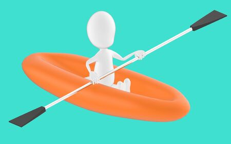 3d white character , rowing a boat -turquoise background- 3d rendering