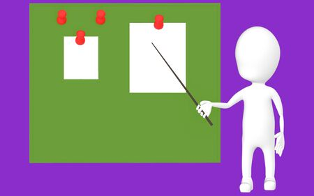 3d white character holding a stick and pointing it towards a green board with pinned papers -purple background- 3d rendering Stock Photo