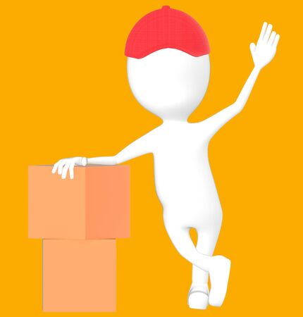 3d white character wearing a cap and presenting cardboard boxes -orange background- 3d rendering