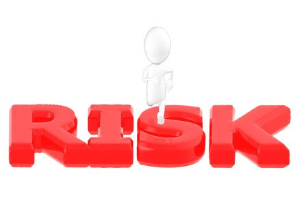 3d character , man jumping over risk text- 3d rendering