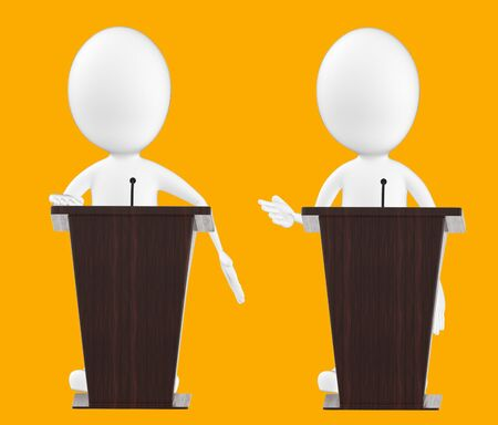 3d white character , character in a podium -orange background- 3d rendering Zdjęcie Seryjne