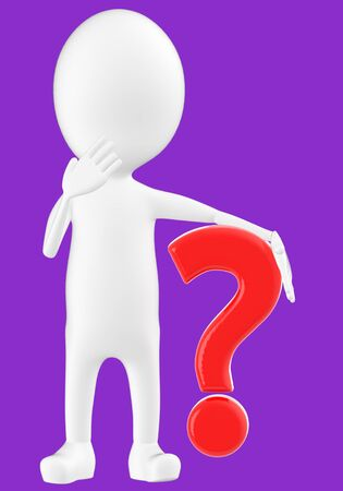3d white character , question mark -purple background- 3d rendering