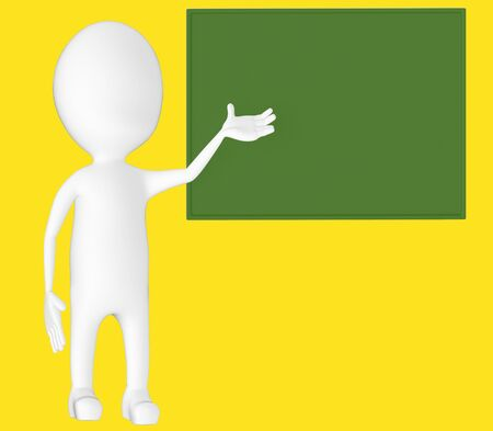 3d white character , explaing,blank board -yellow background- 3d rendering