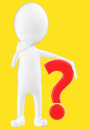 3d white character , question mark -yellow background- 3d rendering 写真素材