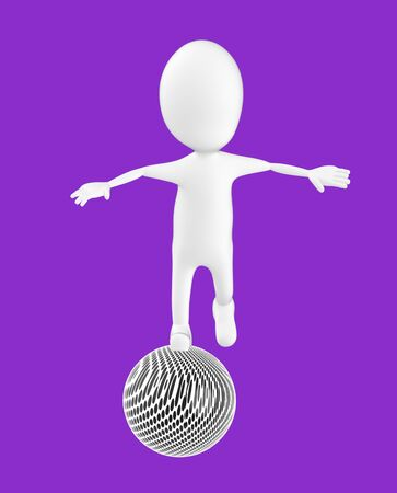 3d white character , balancing on a ball -purple background- 3d rendering