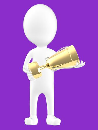 3d white character holding a golden trophy -purple background- 3d rendering