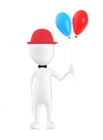 3d character , man wearing a cap and holding ballons- 3d rendering