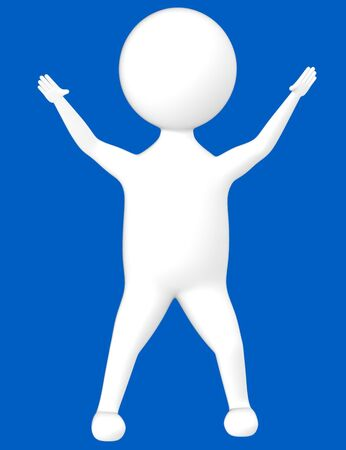 3d character , man excited- blue  background - 3d rendering