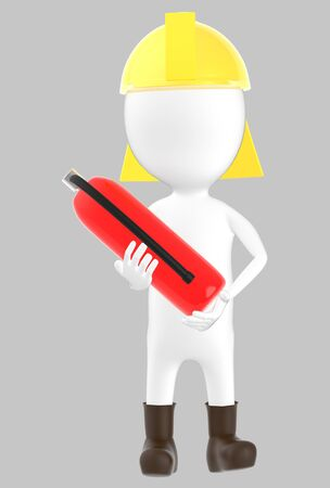3d white character wearing a safety helmet and holding a fire extinguisher in hand -grey background- 3d rendering