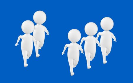 3d character , man , character running- blue  background - 3d rendering