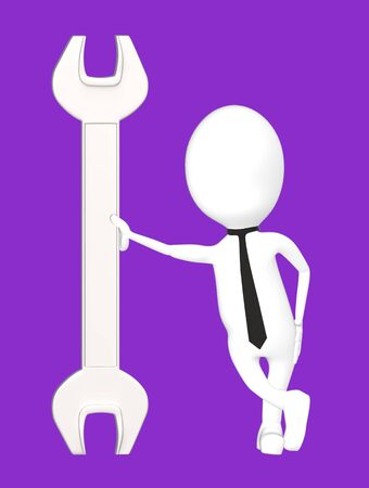 3d white character leading his hand towards a wrench-purple background- 3d rendering Imagens - 134050453