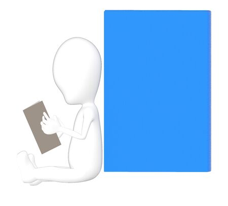 3d character , man reading a book , empty space- 3d rendering Stockfoto