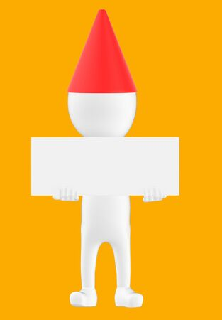 3d white character wearing a cone cap and holding a white empty board -orange background- 3d rendering Banco de Imagens