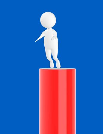 3d character , man slipping from top- blue  background - 3d rendering Stock Photo