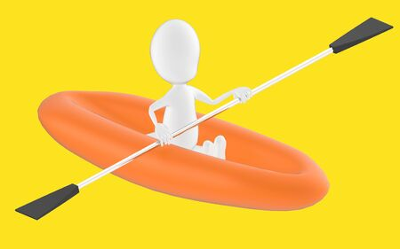 3d white character , rowing a boat -yellow background- 3d rendering