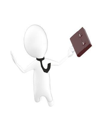 3d character , man ,proffesional , worker , businees man jumping- 3d rendering Reklamní fotografie