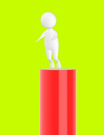 3d character , man slipping from top- green  background - 3d rendering Stock Photo