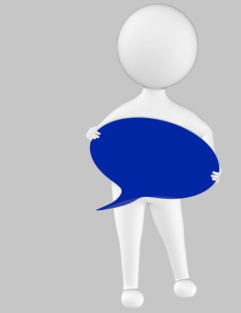 3d character , man holding a speech bubble in hands- grey  background - 3d rendering 写真素材