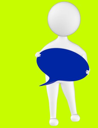 3d character , man holding a speech bubble in hands- green  background - 3d rendering 写真素材