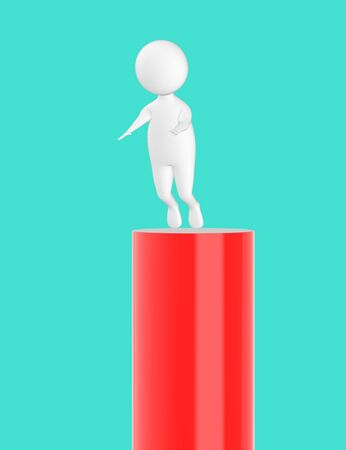 3d character , man slipping from top- turquoise background - 3d rendering