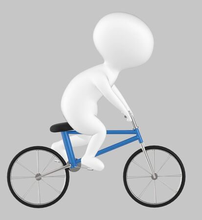 3d character , man riding bicycle- grey  background - 3d rendering