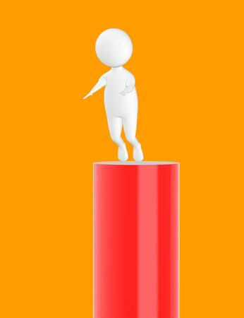 3d character , man slipping from top- orange  background - 3d rendering Stock Photo