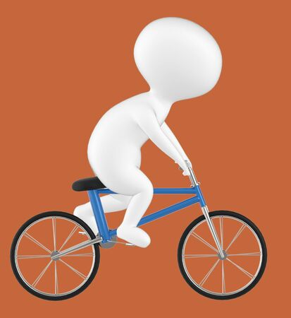 3d character , man riding bicycle- brown  background - 3d rendering