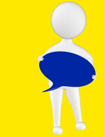 3d character , man holding a speech bubble in hands- yellow  background - 3d rendering