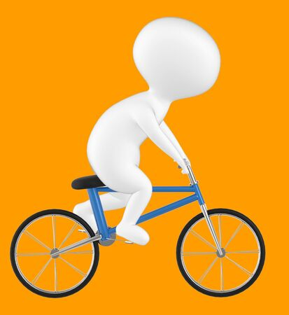 3d character , man riding bicycle- orange  background - 3d rendering
