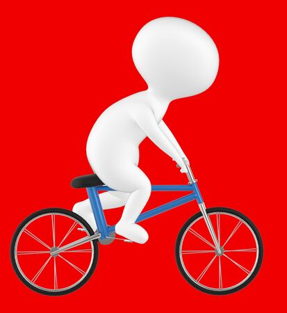 3d character , man riding bicycle- red  background - 3d rendering