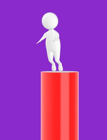 3d character , man slipping from top- purple  background - 3d rendering Stock Photo