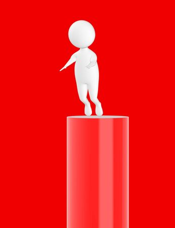 3d character , man slipping from top- red  background - 3d rendering