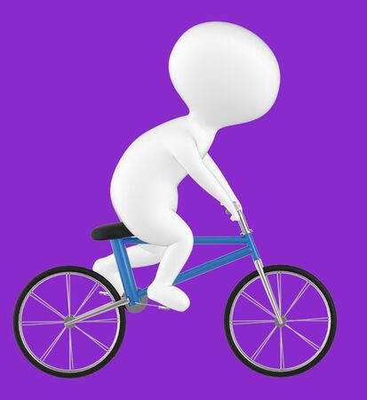 3d character , man riding bicycle- purple  background - 3d rendering