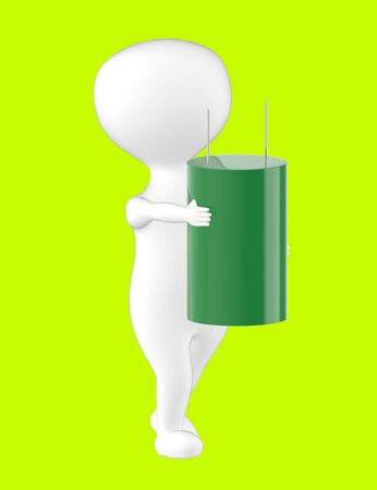 3d character , man and capacitor- green  background - 3d rendering Stock Photo