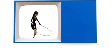 3d woman on tv skipping with rope concept on white background, front angle view Reklamní fotografie - 134449881