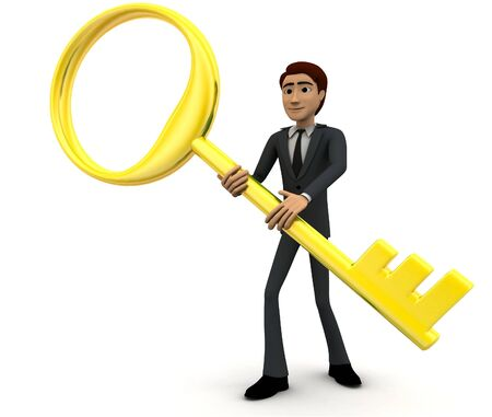 3d man with big and old golden key concept on white background, side angle view Foto de archivo - 134450012