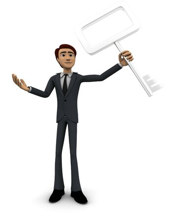 3d man holding old generation key concept on white background, front angle view Foto de archivo - 134499833